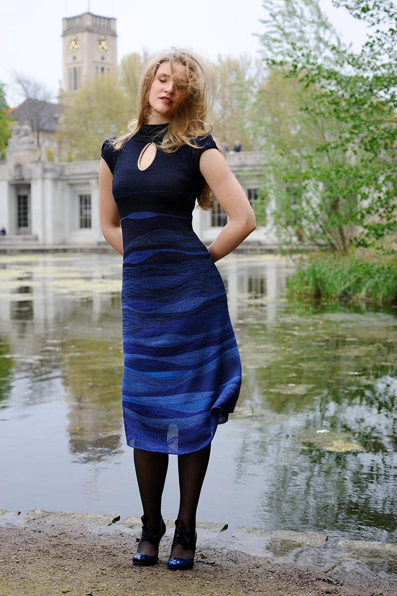 Sommerkleid Strick blau
